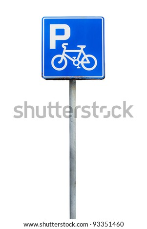Parking bicycle sign, isolate on white background - stock photo