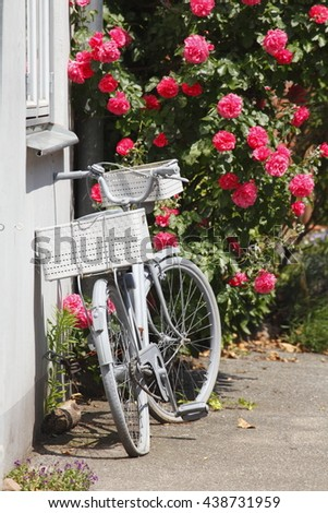 Parking Bike with Roses in the Old Town, Luebeck, Germany, Europe