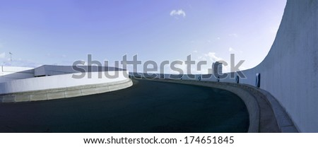 parking deck ramp panorama - stock photo