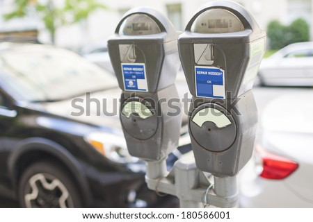 Parking Device in The city. Horizontal Image - stock photo