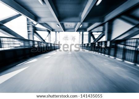 Parking entrance channel,Motion blur - stock photo