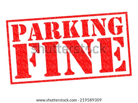 PARKING FINE red Rubber Stamp over a white background.