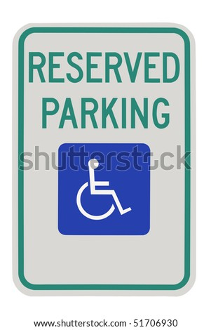 Parking for disabled or wheelchair space, on white background. - stock photo