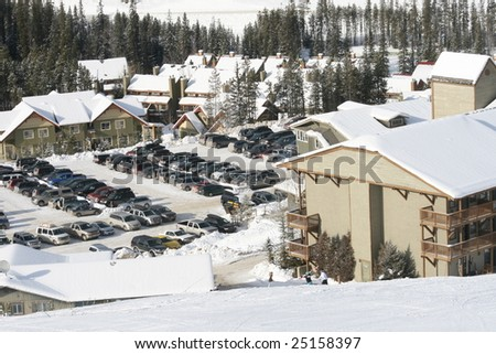 parking for skiers - stock photo