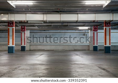 Parking garag interior, industrial building,Empty underground parking background - stock photo