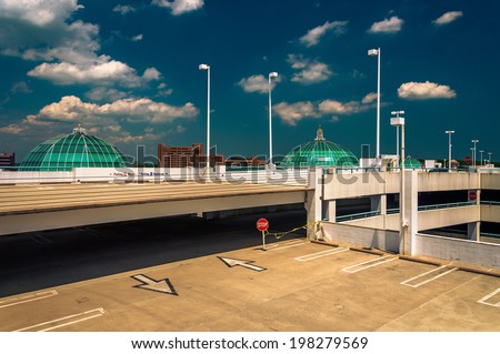 Parking garage and domes on the roof of Towson Town Center, Maryland. - stock photo