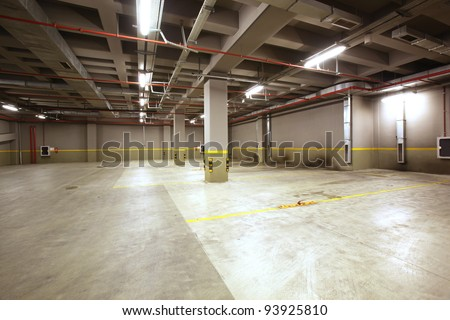 Parking garage interior - stock photo