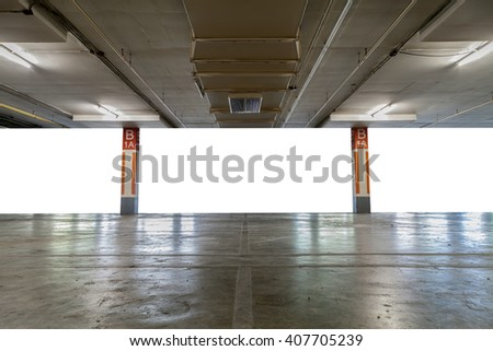 Parking garage interior, industrial building,Empty underground parking background,with blank billboard - stock photo