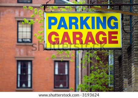 Parking garage sign in Brooklyn borough, New York city