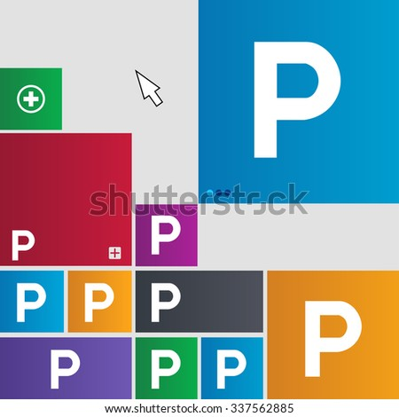 parking icon sign. buttons. Modern interface website buttons with cursor pointer. illustration - stock photo