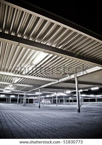 parking lot at night - stock photo