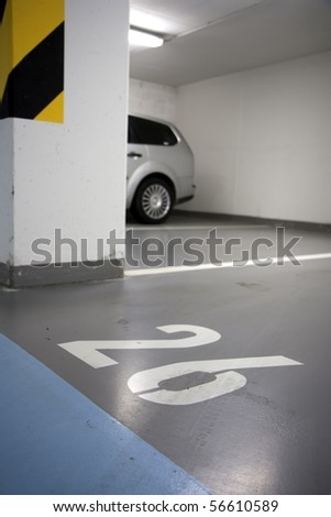 Parking lot in an underground garage
