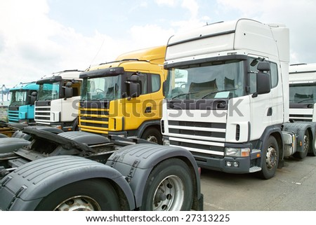 Parking Lot of Trailer Heads - stock photo