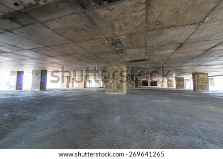 Parking lot old in abandoned building - stock photo