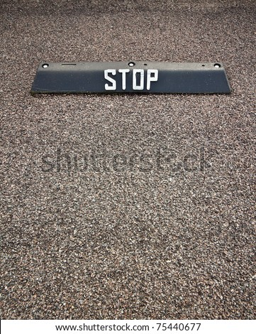 Parking lot stop sign. Can be used as concept background. - stock photo