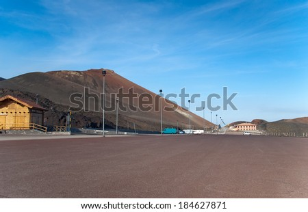 Parking lot under volcano Etna, Sicily, Italy - stock photo