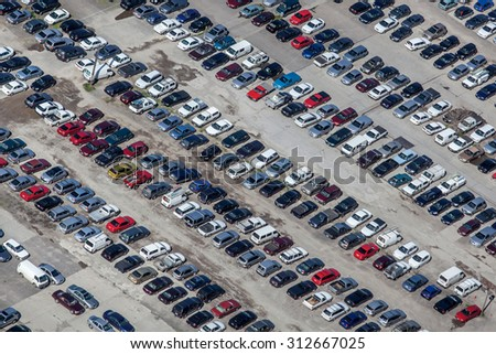 Parking lot viewed from above - stock photo