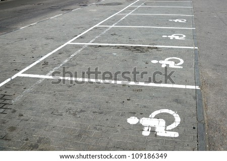 Parking marking for disabled people. - stock photo
