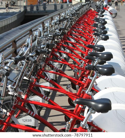 Parking of bicycles for hire - stock photo