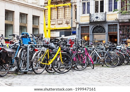 Parking of bicycles on one of streets of Ghent