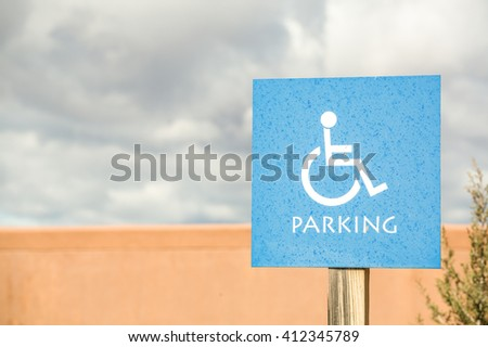 Parking reserved for disabled people. Road sign - stock photo
