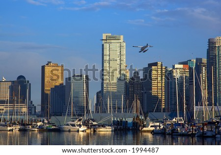 Parking sailboats and a float plane in Vancouver harbor. More with keyword group14g