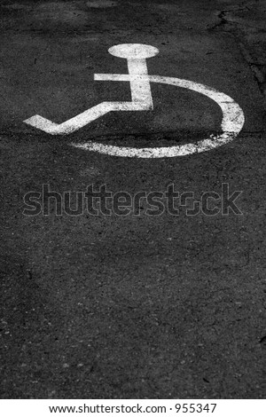 parking sign for disable people on the road - stock photo