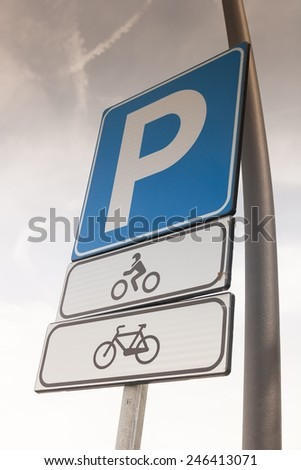 Parking sign - Motorcycles and bicycles only - stock photo