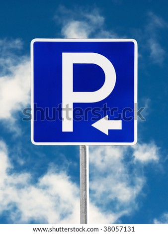 Parking traffic sign on a sky background - stock photo