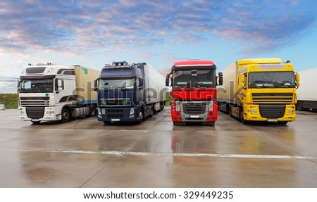 Parking trucks - stock photo