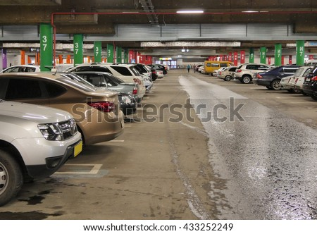Parking underground. A large number of vehicles