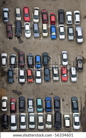 Parking with parked cars. Aerial view from a height. - stock photo