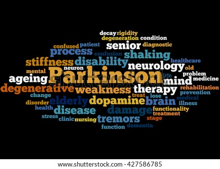 Parkinson, word cloud concept on black background.