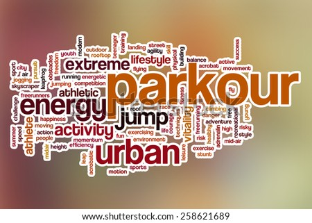 Parkour word cloud concept with abstract background - stock photo