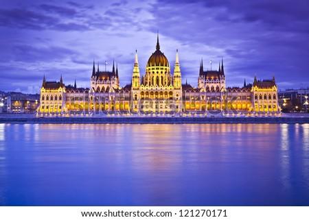 Parliament, Budapest, Hungary at night - stock photo