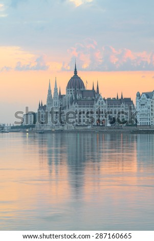 Parliament building in Budapest, Hungary, at dawn