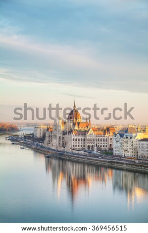 Parliament building in Budapest, Hungary in the morning - stock photo