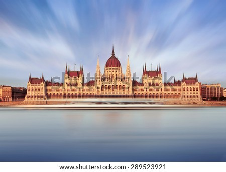 Parliament building in Budapest on sunset. Budapest the capital of Hungary. Photo by long exposure - stock photo