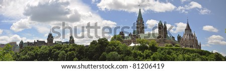 Parliament Buildings and Library panorama, Ottawa, Canada - stock photo