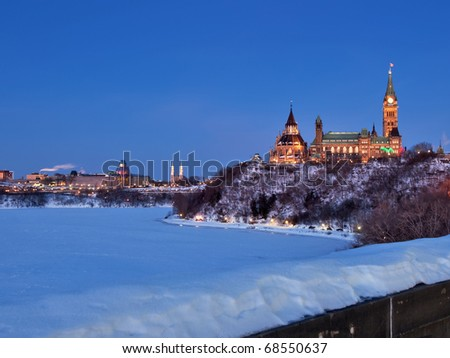 parliament buildings and national art gallery seen from the west at dusk in winter - stock photo