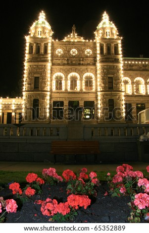 Parliament Buildings in Downtown Victoria, Vancouver Island,  BC, Canada - stock photo