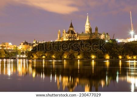 Parliament Hill in Ottawa at night - stock photo