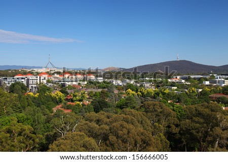 Parliament House and the city of Canberra in Australia - stock photo