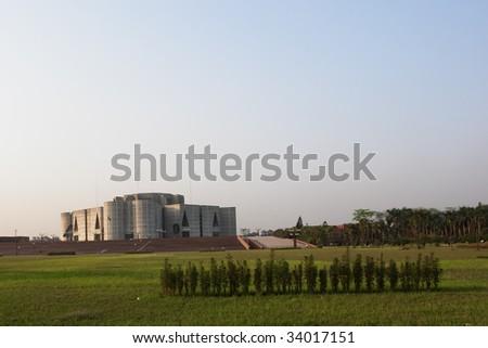 Parliament house building in Dhaka Bangladesh - stock photo