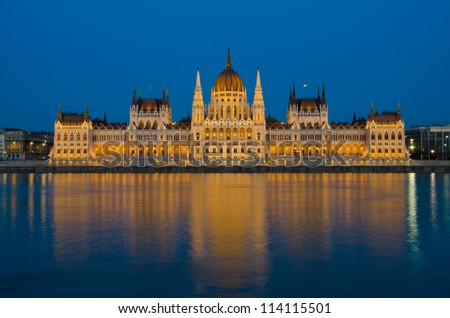 Parliament of Budapest, Hungary at night - stock photo