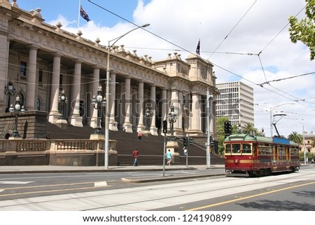 Parliament of Victoria state building in Melbourne, Australia. Famous historical streetcar - tourism attraction. - stock photo