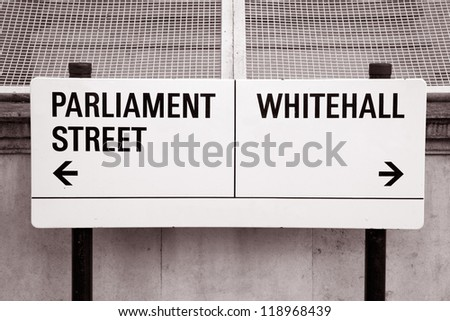 Parliament Street and Whitehall Street Sign, London, UK - stock photo