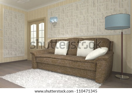 parlor or living room with big divan and stones on wall - stock photo
