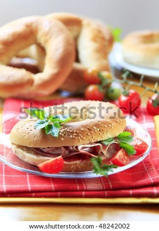 Parma ham sandwich - stock photo