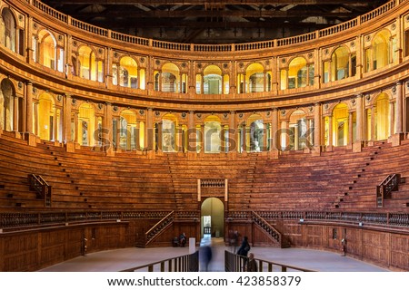 PARMA, ITALY - JANUARY 05, 2016: Museum of Farnese theatre in Parma, Italy. The date of construction is 1618. - stock photo